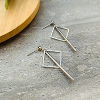 Small Silver Square and Stick Stud Earrings