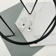 Silver Threader Earrings with Black Bead and Silver Pendant