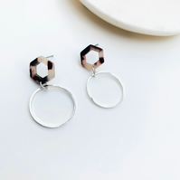 Hexagon Stud Resin Earrings with Silver Circle Dangle Detail
