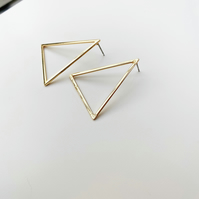 Large Triangle Gold Stud Earrings