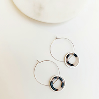 Tortoise Shell Hoop And Silver Circle Detailed Silver Hoops