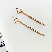 Triangle Gold Drop Studs with Dainty Stick Detail
