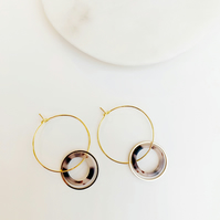 Tortoise Shell Hoop with Gold Circle Detail Gold Hoops