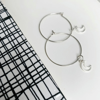Small Silver Moon Hoops