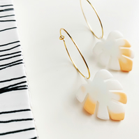 White and Peach Monstera Leaf Gold or Silver Hoop Earrings