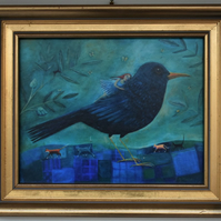Blackbird, Limited Edition Canvas Print in a Vintage Frame. Free UK P&P