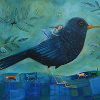 Blackbird. Limited Edition Mounted Giclee Print, Extra Large