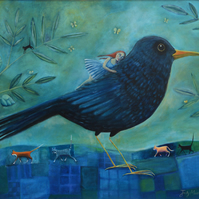 Blackbird, Limited Edition Mounted Giclee Large