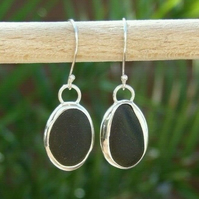 Sterling Silver & Fine Silver Handmade Black Pirate Seaglass Dangly Earrings