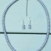 Unusual Cornflower Blue-Lilac Genuine Freshwater Pearl Necklace & Earrings Set