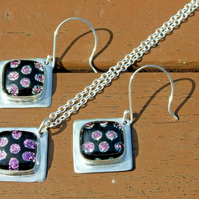 Fine and Recycled Silver with Black and Pink Spot Dichroic Glass Jewellery Set