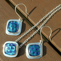 Fine Silver and Recycled Silver with Blue Spotted Dichroic Glass Jewellery Set