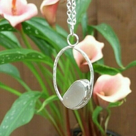 """Fine Silver and Recycled Silver with Clear White """"Jellybean"""" Seaglass Necklace"""