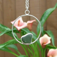 Fine Silver 999 and Recycled Silver 925 with Green Cornish Seaglass Necklace