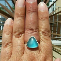 Fine Silver and Sterling Silver Bright Turquoise Seaglass Adjustable Ring