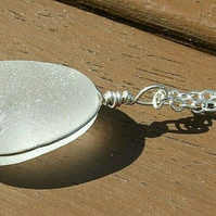 """Handmade Recycled Silver """"Ecosilver"""" Wire Wrapped White Seaglass Necklace"""