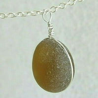 """Handmade Recycled Silver """"Ecosilver"""" Wire Wrapped Light Brown Seaglass Necklace"""