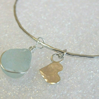 "Recycled ""Ecosilver"" Silver Hammered Bangle with Aqua Seaglass & Heart Charms"
