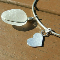 "Recycled ""Ecosilver"" Sterling Silver Hammered Bangle with Seaglass & Heart Charm"