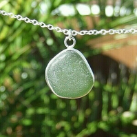 """Fine Silver and Recycled """"Ecosilver"""" Silver with Deep Lime Seaglass Necklace"""