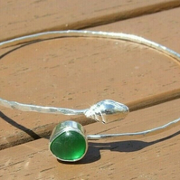 "Recycled ""Ecosilver"" Sterling Silver Sparkle Bangle with Seaglass & Seashell"