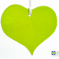 Green fused glass heart light catcher, heart shaped, hanging decoration (1027)
