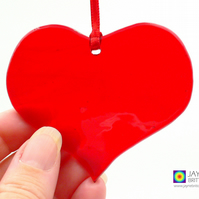 Red fused glass heart light catcher, heart shaped, hanging decoration (1024)