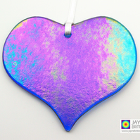 Iridescent blue fused glass heart light catcher, sparkly, metallic, heart (1039)