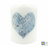 Fused glass curved panel, bubbly heart sconce, handmade, candle screen (639)