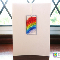 Rainbow card, Greeting card with gift, rainbow fused glass light catcher (967)