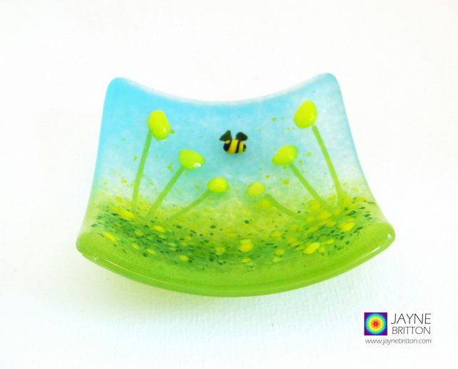 Yellow flowers with bee garden fused glass trinket bowl, country meadow (965)