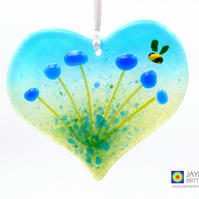 Blue flowers light catcher with bee, heart shaped, hanging decoration (998)