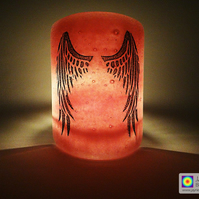 Angel Wings Sconce, mini light and candle screen, pink blended background (535)