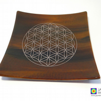 Earth element fused glass plate platinum Flower of Life, sacred geometry (278)