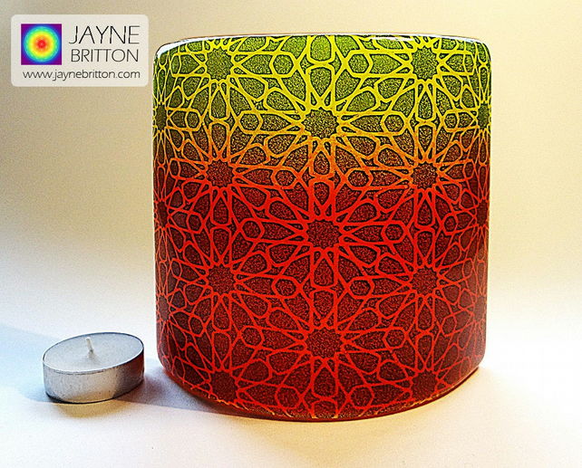 Alhambra Stars Sconce, curved fused glass panel, sacred geometry pattern (654)