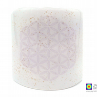 Flower of Life Sconce, curved fused glass panel, candle screen, white (656)