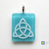 Celtic Trinity Knot pendant, Triquetra symbol, turquoise blue, handmade (898)