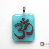 Om symbol pendant, gift for Yoga teachers, turquoise jewellery, fused glass 897