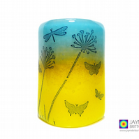 Fused glass curved panel, dragonfly meadow, handmade, tealight sconce (611)