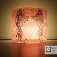 Angel Wings Sconce, small light & candle screen, pink purple blended (514)