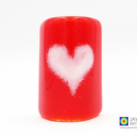 Fused glass curved panel, red with white heart sconce, handmade (994)