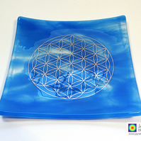 Water element fused glass plate platinum Flower of Life, sacred geometry (276)