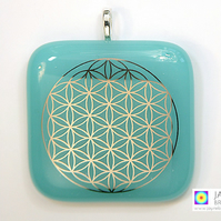 Flower of Life, pendant, sacred geometry jewelry, fused glass and platinum (259)