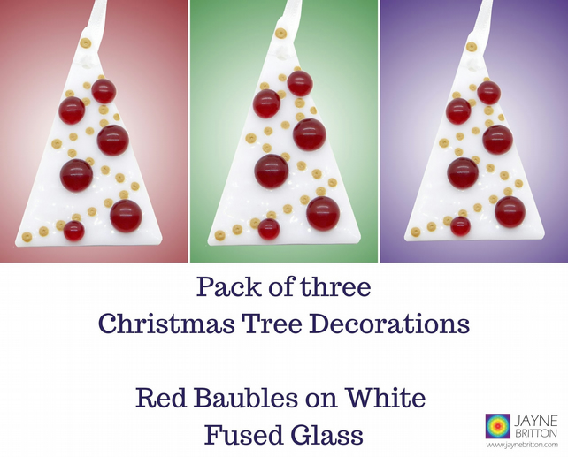 Pack of 3 Fused glass Christmas tree decoration... - Folksy