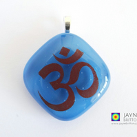 Om symbol pendant, gift for Yoga teachers, egyptian blue jewellery, (606)