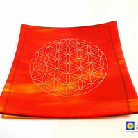 Fire element fused glass plate platinum Flower of Life, sacred geometry (277)