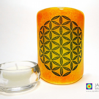 Flower of Life Sconce, mini light & candle screen, yellow, orange blended (598)