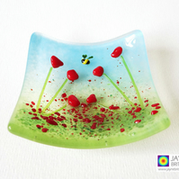Red poppies with bee fused glass trinket bowl with bee, mothers day (841)