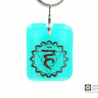 Throat chakra symbol pendant, fused glass, sterling silver, Yoga (1007)