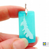 Angel feather pendant, turquoise blue fused glass, Archangel Haniel (1010)